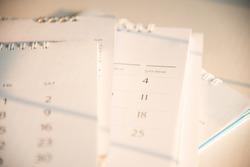 Blurred old calendar in remember concept.