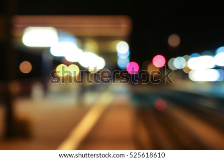 blurred, out-of-focus impression of train station lights #525618610