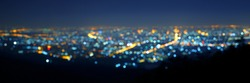 Blurred panorama and Night light view of beautiful city corner of the viewpoint Doi Suthep at Chiangmai city of Thailand