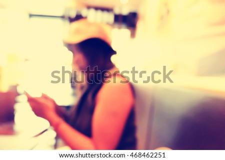 blurred people in cafe restaurants . - Shutterstock ID 468462251