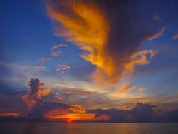 Blurred photo, Beautiful seascape with motion blur sky and sea at sunset background.Nature composition concept.