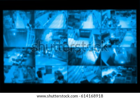 blurred photo, Blurry image, closed circuit camera,security system walkie-talkie while looking at CCTV footage.
