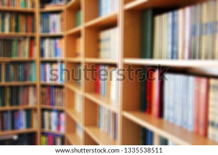 Blurred photo.  Library. Books Abstract photo