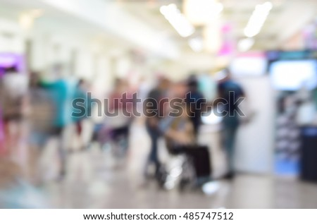 blurred photo of department store shopping mall center and people background #485747512