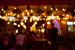 blurred photo The restaurant has a beautiful glass mirror on Cambodian night market.