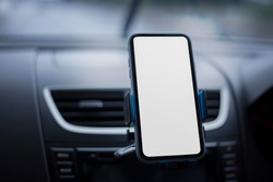 Blurred photo Where the mobile phone is placed in front of the car to view the map instead of google map