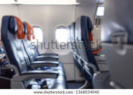 Blurred Picture of Cabin an airplane as Background