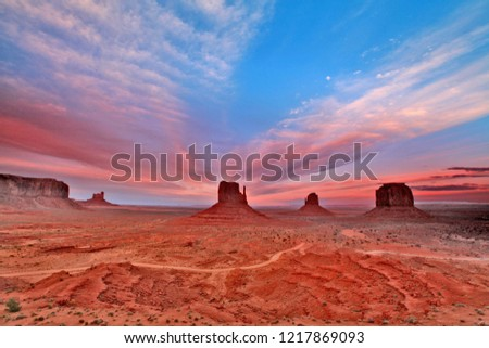 Blurred picture of  Peaks of rock formations in the Navajo Park of Monument Valley Utah known as The Mittens