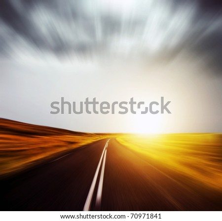 blurred road and blurred sky