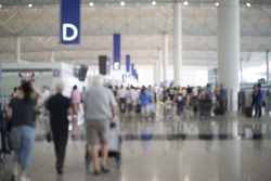Blurred scene in Air port with passengers activity.