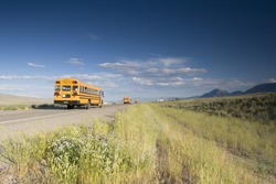 Blurred school bus on the road