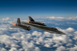 Blurred sky background - SR-71 'Blackbird' 20th century advanced, long-range, Mach 3+ strategic reconnaissance aircraft from the USA. (Artists Impression/recreation photo)