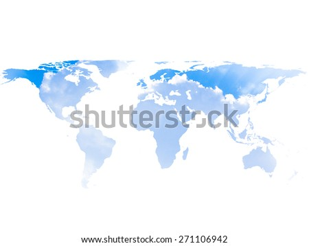 blurred sky world map isolated on white backgrounds