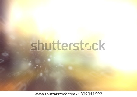 blurred snow / winter abstract background, snowflakes on abstract blurred glowing leaf background #1309911592