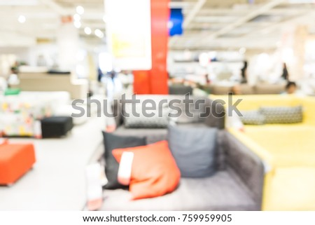 Blurred Sofa Furniture In Homemart Store Background With Customer Shopping  Interior Object #759959905