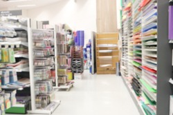 Blurred stationery store for background. blur shopping mall store interior.