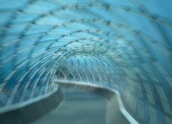 Blurred structural glass tunnel background