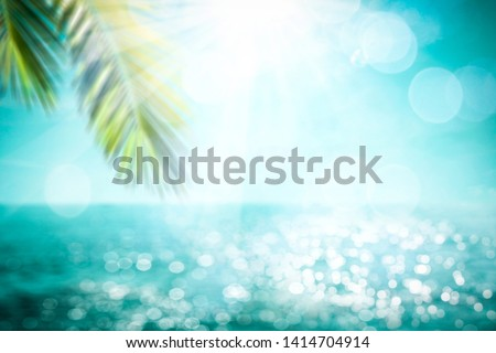 Blurred summer background of free space for your decoration and palm leaves with sun light.  #1414704914