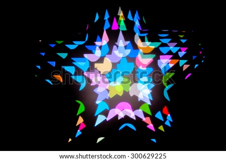 Blurred the star-shaped Bokeh black background