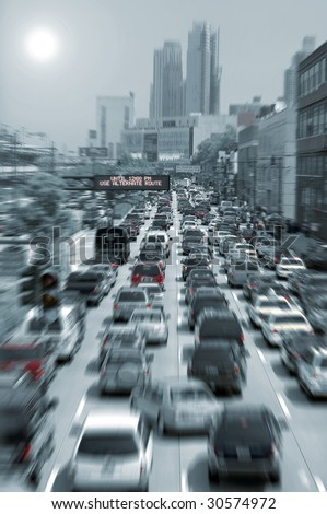 blurred traffic jam colored picture, photo taken in new york