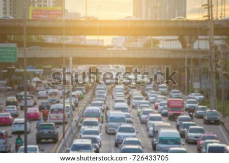 blurred traffic  jam  on  street in bangkok , Thailand