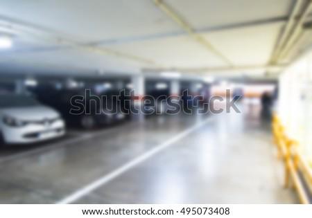 Blurred underground parking in soft lights #495073408