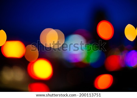 Blurred unfocused city view at night background