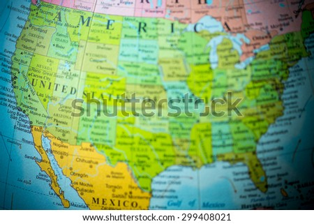 Royaltyfree Blurred Defocused Map View Of USA On - Usa globe map