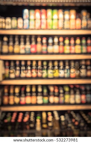 blurred various packs  bottles  ...