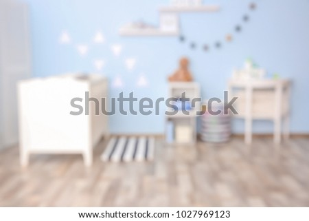 Blurred view of beautiful children room
