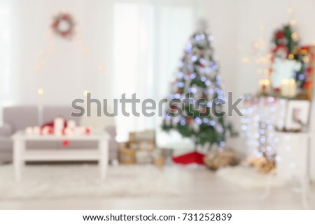 Blurred view of beautiful room with Christmas decorations #731252839