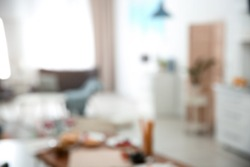 Blurred view of room interior with bokeh effect