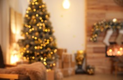 Blurred view of stylish Christmas room interior
