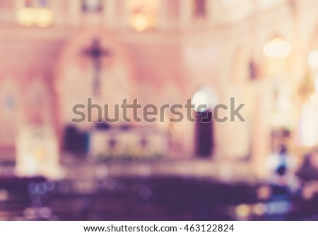 blurred vintage photo of church interior for abstract background