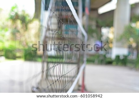 blurred volleyball net