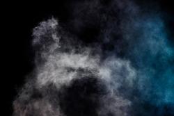 Blurred white smoke on a black background Smoke surface