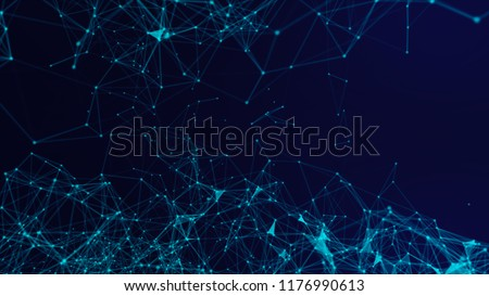 Blurry abstract  3d Rendering Abstract Background blue  Network concept . Future backgroundTechnology concept.Big data.