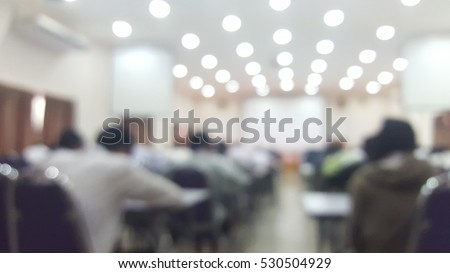 Blurry abstract exam classroom educational school: Blurry view college people in class room