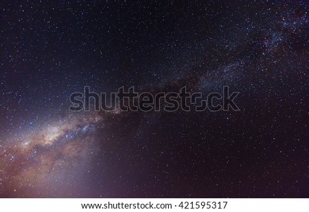blurry and Long exposure photograph with gain of the Milky Way galaxy on dark night at Borneo Malaysia.