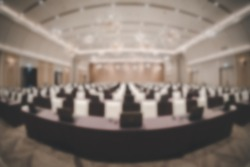 Blurry background of seminar room. Take a photo with fisheye lens