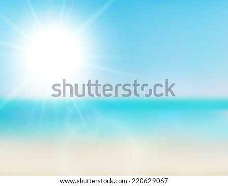 Blurry beach and blue sky with summer sun burst,  background illustration