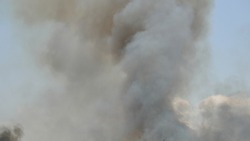 Blurry black with gray and brown smoke or steam on blue background, Pollution and burning