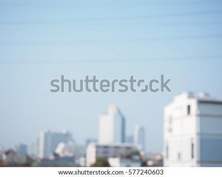blurry building blue sky background, bangkok thailand #577240603