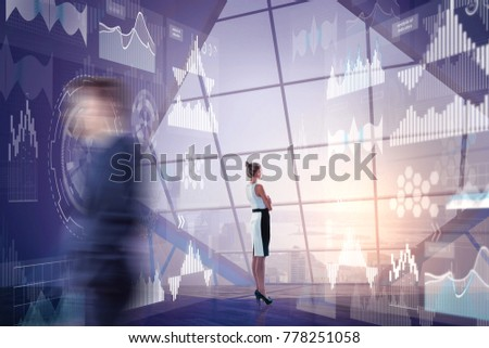 Blurry businesspeople standing in office interior with city view and business screen. Futuristic innovation and analytics concept. Double exposure  #778251058