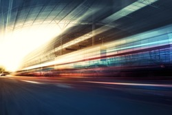Blurry chromatic color tunnel car traffic motion blur. Motion blur  the speed and dynamics.