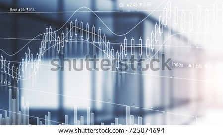 Blurry filtered office interior with abstract forex chart. Trade concept. Double exposure