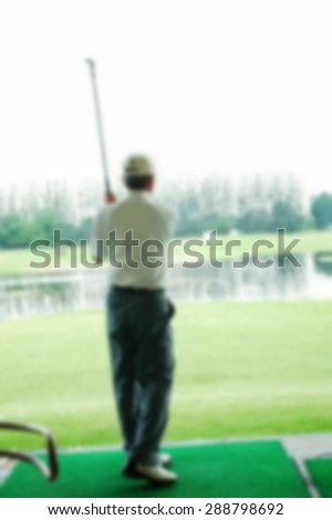 Blurry focus scene of golf course master swing action represent the golf sport course concept related idea.