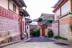 Blurry image of traditional House at Bukchon Hanok Village in Seoul City, South Korea.