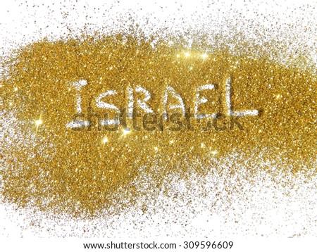 Blurry inscription Israel on golden glitter sparkles on white background