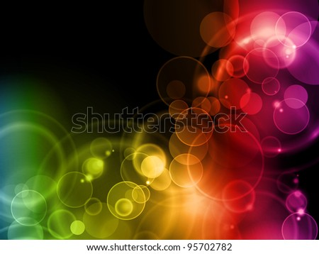 Blurry lights in rainbow colors on dark background with space for your text. Vector available in my port.